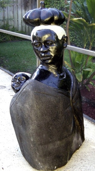 The Mama Africa sculpture is a symbolic intercultural presence at Haley Farm.